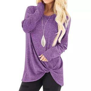 Purple Long Sleeve Twist Bottom Top